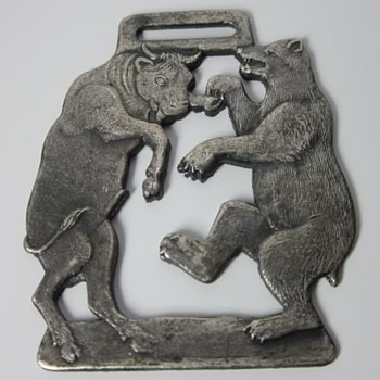 Early 1990's Cobweb Inn Dancing Bull & Bear Figural Watch Fob - Pocket Watches