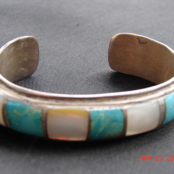 Native American Turquoise Mother Of Pearl Inlay Cuff Bracelet