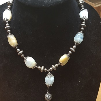 Silver moss agate necklace