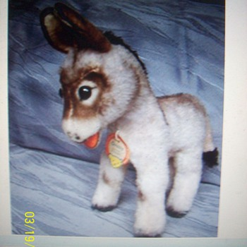 Vintage Steiff stuffed mohair donkey , &quot;Grissy&quot;...Ca. 1960&#039;s. 