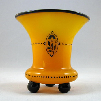 Loetz Yellow Ball-footed Tango Vase