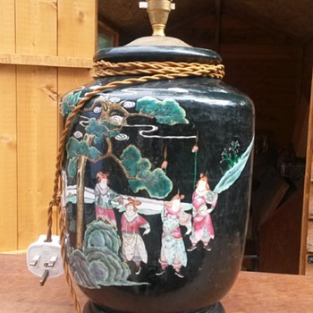 Very Tacky Chinese CERAMIC Temple Jar Style Lamp Base