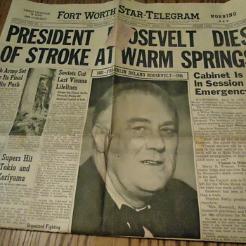 President Roosevelt Dies - Paper