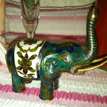 Chinese Cloisonne Elephant Figurine - Asian
