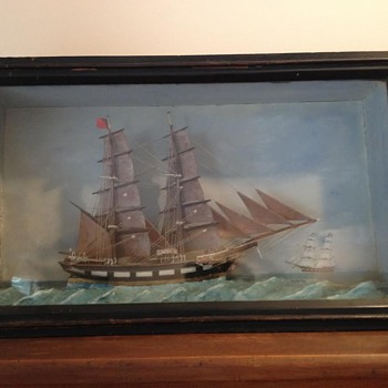Ship Folkart in Shadow Box  - Folk Art