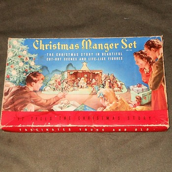 Cardboard Chrismtams Manger Set in Box 1940s/1950s