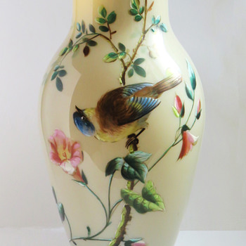Harrach Enameled vase with Bird & Butterfly - Art Glass