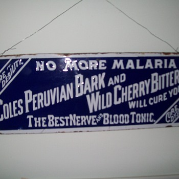 Coles Peruvian Bark and Wild Cherry Bitters sign - Signs