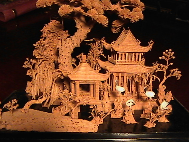1940 Large Oriental Cork Carving In Glass Case