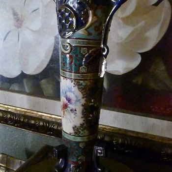 My favorite vase beautiful tall cobalt blue with gold trim and pansies.