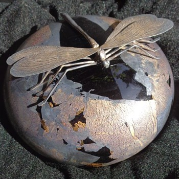 Michael Harris Isle of Wight Azurene Paperweight Silver Dragonfly - Art Glass