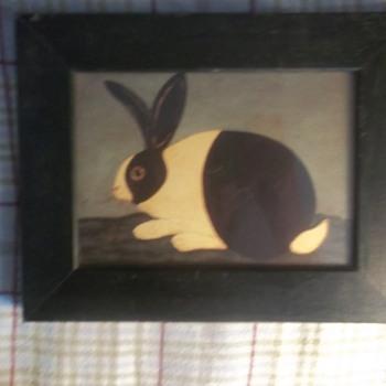 PRIMITIVE-FOLK ART PRINTS,--RABBITS, Wood Framed, 7X9  ART BY WARREN KIMBLE. - Folk Art