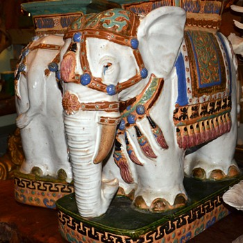 Spectacular pair of Pottery Elephant Garden Seats - Animals