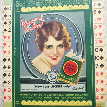 LUCKY STRIKE CARDBOARD SIGN, CARD GAME