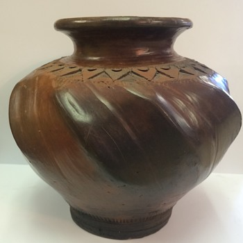 Old primitive clay vase jar vessel