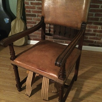 Antique Wood & Leather Chair - Furniture