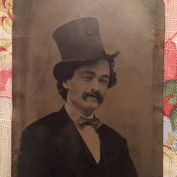 Antique Tintype of Gentleman in Top Hat - Photographs