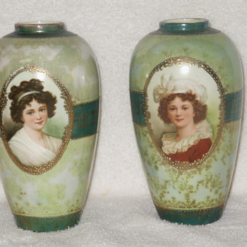 RS Prussia Royal Vienna/Germany Lebrun Portrait Vases - China and Dinnerware
