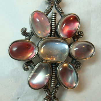 Large Antique Foiled Moonstone Brooch