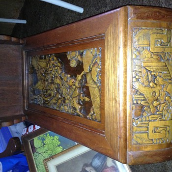 Asian wood carved End table - Furniture