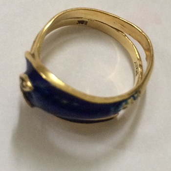 Antique Gold and Enamel Snake Ring - Fine Jewelry