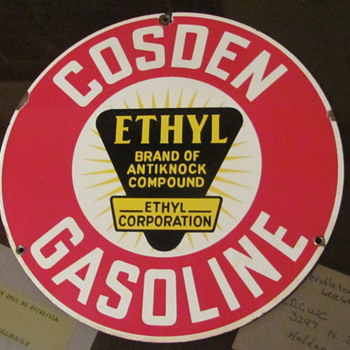 "COSDEN 10 INCH GAS PUMP PLATE ""THANKS GUYS"" - Petroliana"