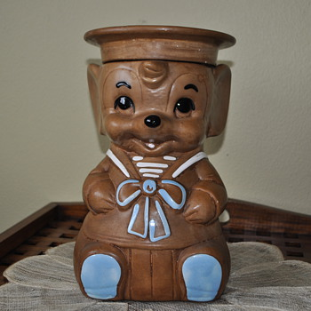 "Twin Winton Patteries ""sailor mouse"" large Cookie Jar - brown mouse."