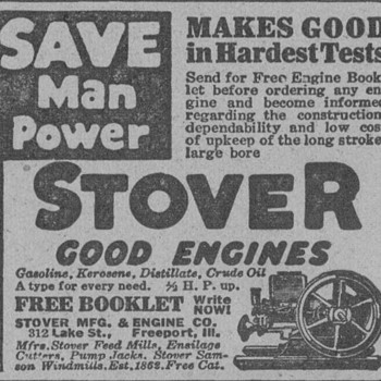 1919 Stover Farm Engines Advertisement - Advertising