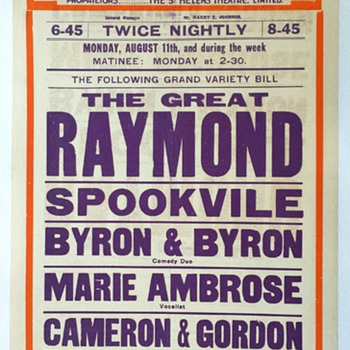 "Original ""Raymond"" Theatre Royal Broadside  - Posters and Prints"