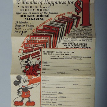 MICKEY LAPEL WATCHES WITH PAPERS