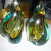 Murano art glass swirl bookends yellow and turquoise