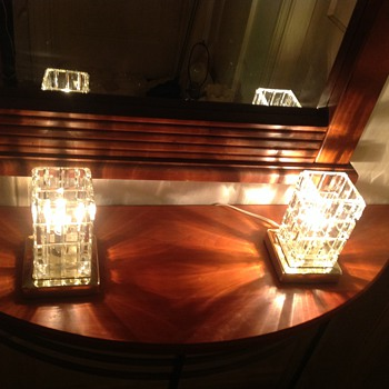 A pair of Portuguese cut glass boudoir lamps