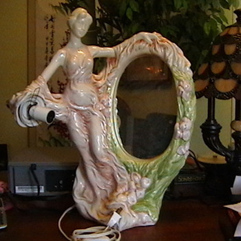maiden mirror lamp  think its art deco - Art Pottery