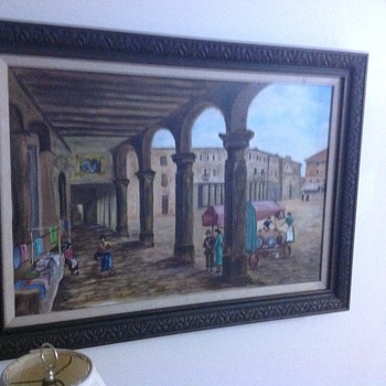 large oil painting on canvas Spain ???? artist a de lucia