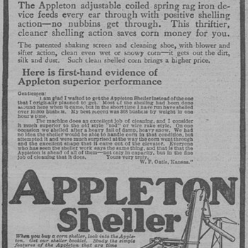 1919  Appleton Corn Sheller Advertisement - Advertising