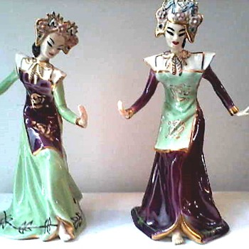 "Goldcrest Ceramic ""Balinese Temple Dancers"" Designed By Kathi Urbach #1250-1251/Circa 1947-1953 - Figurines"