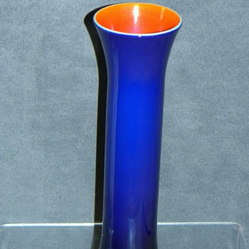 Imperial Freehand 1920's Cobalt Blue Orange Lustre Cased Vase  - Art Glass