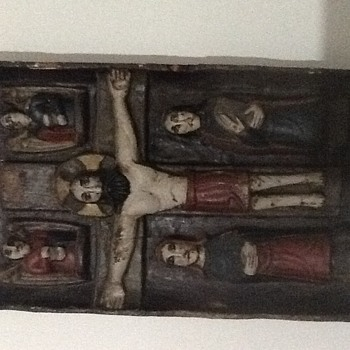 Carved wood religious panel French antique