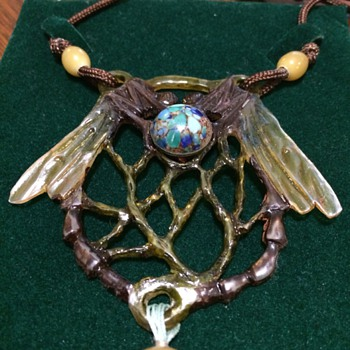 Art Nouveau dragon fly horn pendant
