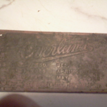 Overland Auto Tag 1909 found metal detecting - Advertising