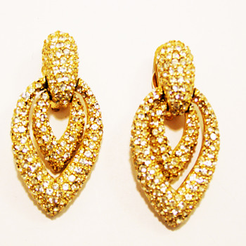 Vintage Ciner Rhinestone Door Knocker Earrings - Costume Jewelry