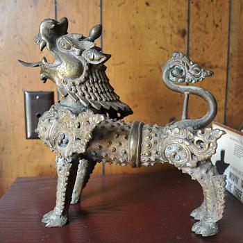 Antique brass foo dog  - Asian