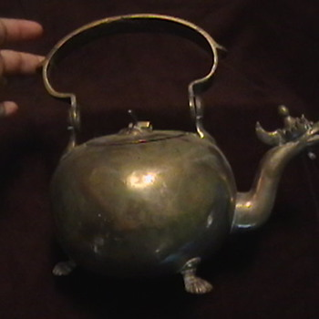 Dragon Tea kettle and an Old Metal Container made in Belgium