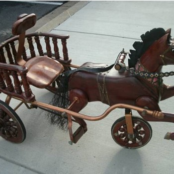 Antique wooden horse pedal cart - Toys