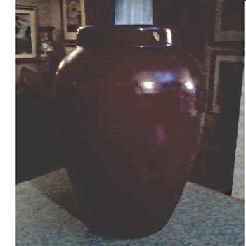 "Large 15"" Burgandy Art Pottery Floor Vase /Unmarked Ohio-Zanesville (?) /Circa 20th Century - Art Pottery"