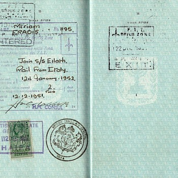 Free Territory of Trieste visa inside a passport - Paper
