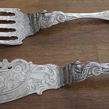 Albert Coles Fish Serving Set - Seeking More Information - Silver