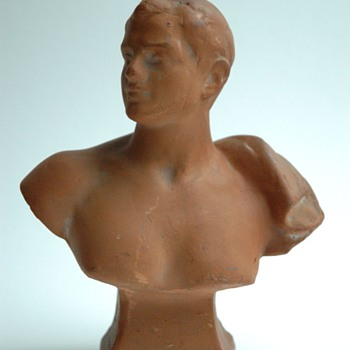 small advertising  terracota male bust by FERDINAND FAIVRE, for ANDRE shoemaker