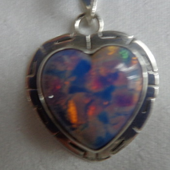 Mexican Sterling and Glass Pendant (foiled harlequin art glass)