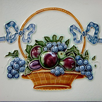 Old Tile, Basket of Fruit with Ribbon~Part of Border? Maker?